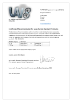 Certificate of Recommendation for issue of a CAA Standard Permission